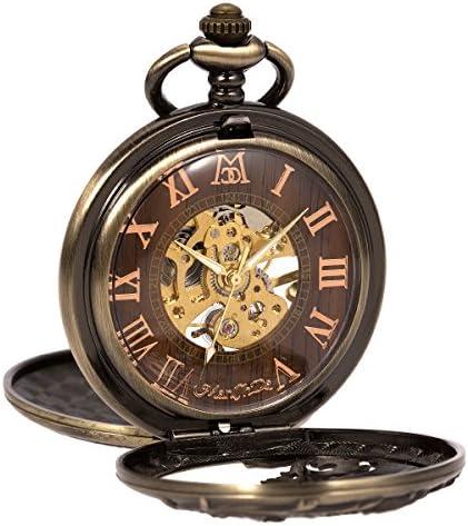 Manchda メンズ 復古風 飛竜 ダブルカバー 木目 ローマ数字 手巻き 機械式 ブロンズ色 懐中時計
