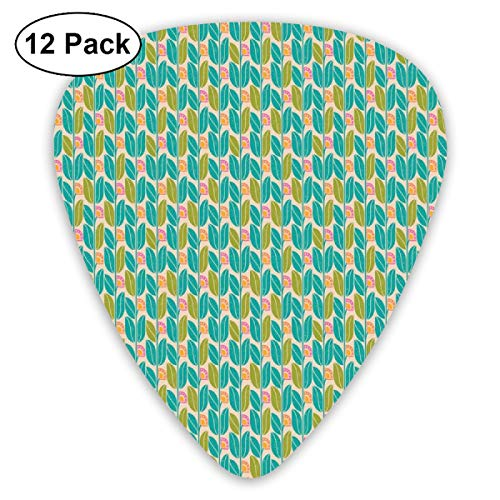 (Guitar Picks 12-Pack,Geometric Botany Pattern Of Vintage Abstract Floral Ornament With Grunge Effect )