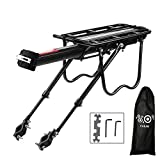 Calar Rear Bike Rack, Adjustable Pannier Bicycle Cargo Rack Quick Release Aluminum Alloy Bike Luggage Carrier Rack 115 Lb Capacity