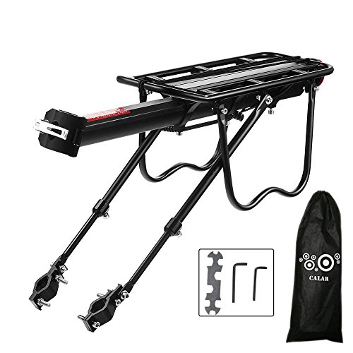 Big Save! Calar Rear Bike Rack, Adjustable Pannier Bicycle Cargo Rack Quick Release Aluminum Alloy Bike Luggage Carrier Rack 115 Lb Capacity