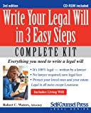 Write Your Legal Will in 3 Easy Steps, Robert C. Waters, 1770400966