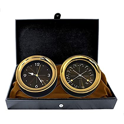 "Image of Clocks & Barometers Master-Mariner Halo Collection Gift Set, 5.85"" Diameter Clock and Comfort Meter Instruments, Gold and Black Two Tone Finish, Midnight Gold dial"