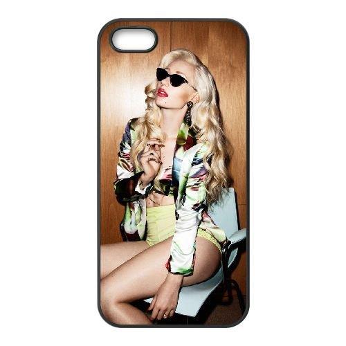 Iggy Azalea 005 coque iPhone 5 5S cellulaire cas coque de téléphone cas téléphone cellulaire noir couvercle EOKXLLNCD24520