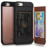TORU CX PRO iPhone 6S Wallet Case Pink with Hidden ID Slot Credit Card Holder Hard Cover & Mirror for iPhone 6S / iPhone 6 - Rose Gold
