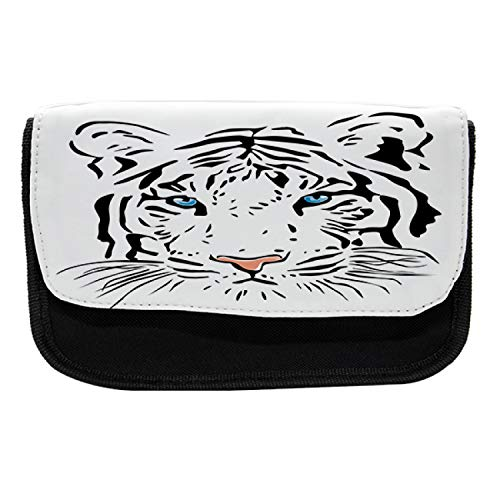 Ambesonne Tattoo Pencil Case, Tiger Ocean Blue Eyes, Fabric Pen Pencil Bag with Double Zipper, 8.5