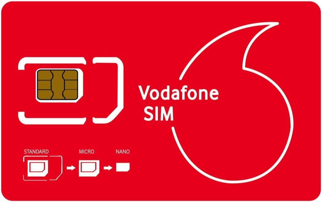 VODAFONE - Tarjeta SIM de Datos precargada (30 GB) Sin contratiempos. Fácil activación. Llamadas ilimitadas + Textos. Europa Roaming.: Amazon.es: Electrónica
