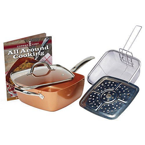 Copper Chef 4 PC 95 Deep Square Pan Set, 6-In 1- Chef Pan