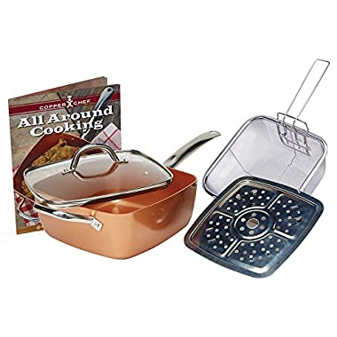 Copper Chef 5 PC 9.5  Deep Square Pan Set, 6-In 1- Chef Pan