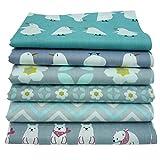 "6pcs 15.7""x19.7"" Grey Cartoon Flower Printed Cotton Fabric for Patchwork Handmade Needlework Material"