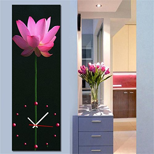 Royal-Modern Style canvas painting living room Lotus flowers Wall Clock in Canvas 1pcs