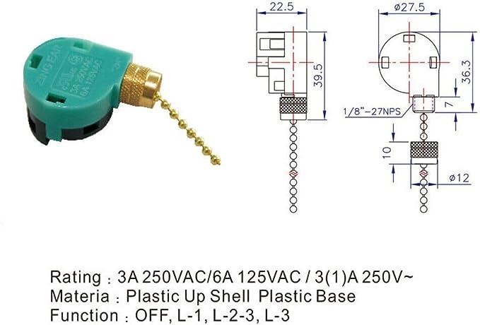 KingYH 2 Pieces Mini Interrupteur /à Tirette 2 Trous 2 A 250 V Interrupteurs /à Tirette avec Cordon de 150 cm avec Cylindre pour Salle de Bain Ventilateur de Plafond Luminaires Commutateur