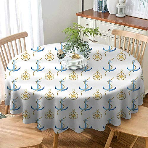 BE.SUN Round Outdoor Tablecloth,Compass,High-end Durable Creative Home,43 INCH Pale Coffee Blue White