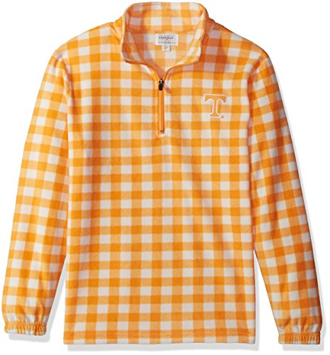 NCAA Tennessee Volunteers Adult Women Women's Campus Specialties Quarter Zip Buffalo Check Fleece, Large, UT Orange/White