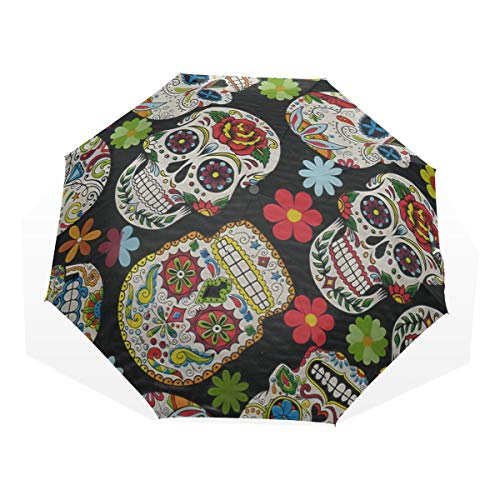 HangWang Umbrella Sugar Skull & Flowers Travel Golf Sun Rain Windproof Umbrellas with UV Protection for Kids Girls Boys