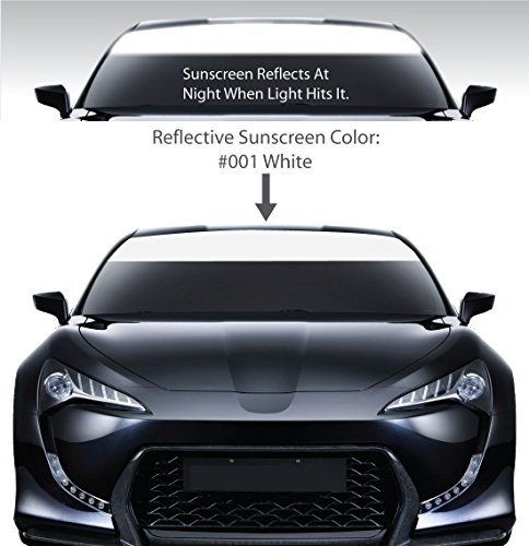 Windshield Visor Sun Screens. / WHITE / Vinyl Stripes & Decals. / Custom Made for Cars Trucks Auto Vehicles Vans Windows. / universal sunscreen stickers. / By 1060 Graphics. ()
