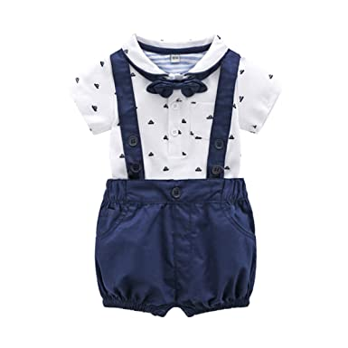 40c353e48d7e3 Baby Boys Gentleman Outfits Suits, Infant Short Sleeve Shirt+Bib Pants+Bow  Tie
