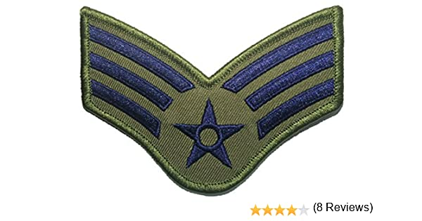 Ranger Return Parche Bordado con el Logotipo del ejército Militar de los Estados Unidos de América (RR-USAF-Chev-SENR-ODBL) y Azul Grande de la Fuerza aérea de los Estados Unidos USAF Chevrones: Amazon.es: Hogar