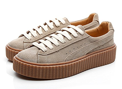 Aisun Womens Casual Sports Round Toe Low Top Thick Sole Lace Up Flat Platform Sneakers Shoes Beige my7vhoOw