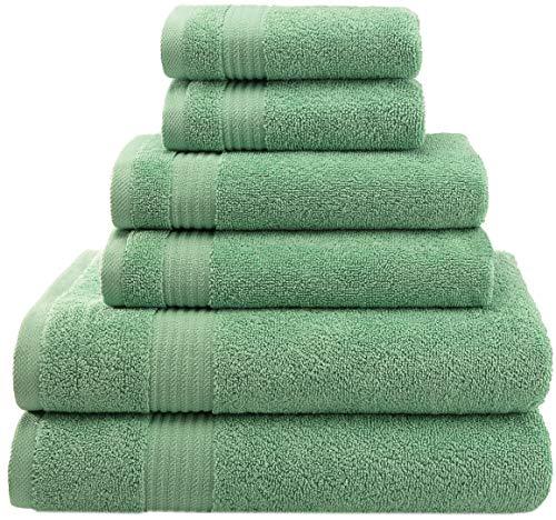 AmericanVeteranTowel Hotel Quality Super Absorbent & Soft Combed Cotton, 6 Piece Turkish Towel Set for Kitchen & Decorative Bathroom Sets Includes 2 Bath Towels 2 Hand Towels 2 Washcloths, Sage Green from AmericanVeteranTowel