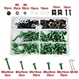 BEESCLOVER 224PCS Windscreen Fairing Bolts Nut Screws for Aprilia Pegaso 650 Trail Factory RS 50 150 250 RSV Mille Tuono 1000R RSV4 Green One Size