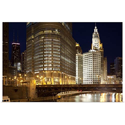 GREATBIGCANVAS Poster Print Entitled Trump Tower and Chicago River, Chicago, Illinois, USA by 18
