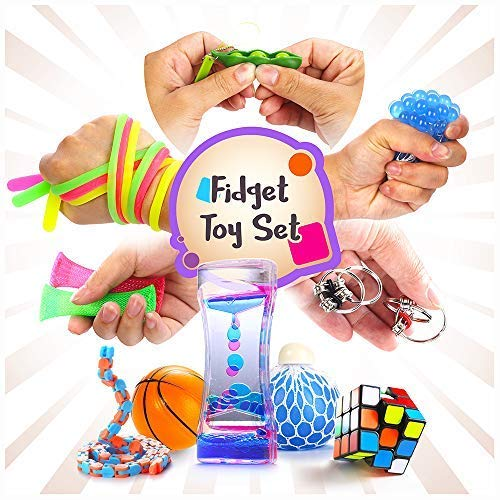 (Fidget Toys Set, 16 Pcs. Sensory Tools Bundle for Stress Relief and Anti-Anxiety for Kids and Adults, Marble and Mesh, Pack of Squeeze Balls, Soybean Squeeze, Flippy Chain, Liquid Motion)
