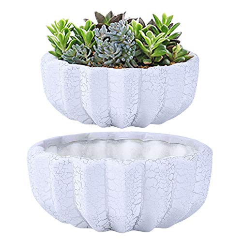 Large White Ceramic Succulent Planter Pots,9 + 7 Inch Fluted Flower Pot with Drainage Hole,Cactus and Plant Container,Set of 2,Indoor