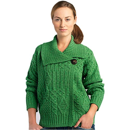 Carraig Donn Irish Wool Sweater For Women, 100% Pure New Wool, Made In Ireland, Green, Medium (Cardigan Wool New)