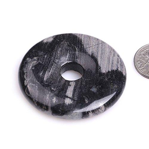 (GEM-inside Natural Black Jasper Stone Donuts Beads for Jewelry Making Semi Precious Gemstone 40mm 1 Piece)