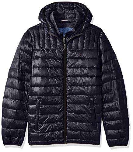Tommy Hilfiger Men's Ultra Loft Insulated Packable Jacket with Contrast Bib and Hood, Midnight, 3X BIG