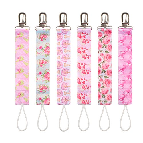 Baby Pacifier Clip by Upsimples - 6 Pack - Pacifier Holder for Baby Girls, PremiumQuality Soothies Teething Ring Holder with Modern Design |Universal Fit