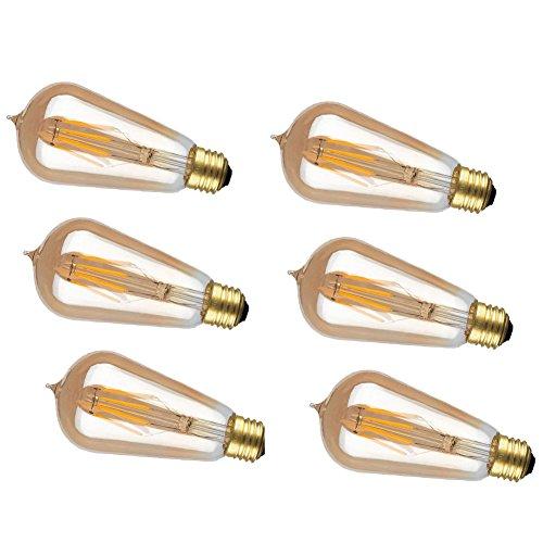 CIMC LLC 6 Pack Vintage Edison Light Bulb Dimmable LED Light Bulb Squirrel Cage Filament ST58 -Lmitation Tungsten Wire 2W 4W 220V E27 Medium Base (4)
