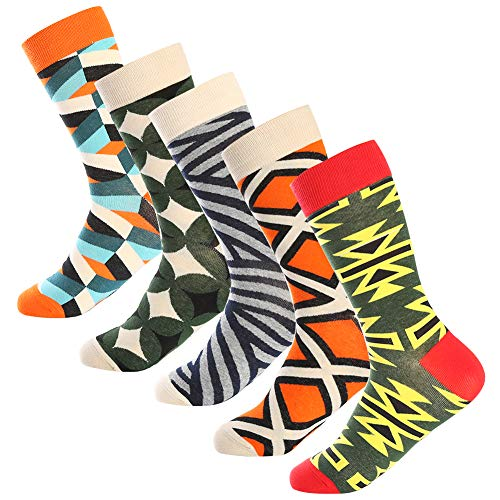 Bonangel Men's Fun Dress Socks - Colorful Funny Novelty Crazy Crew Socks Pack]()