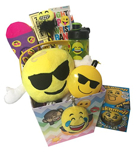 [Deluxe Emoji Easter Basket for Girls, Tweens, Teens with Emoji Easter Stuffers, Smiley Tenzi, Emoji Water Bottle, Pillow Pal - Great ideas for Easter Basket gift] (Deluxe Blue Gift Basket)