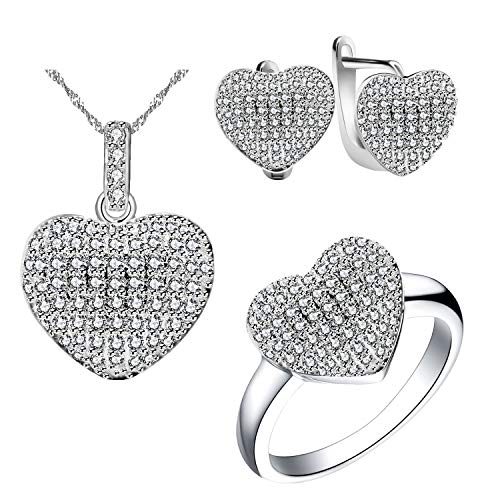 Uloveido Women's White Gold Plated Nice Channel Setting Cubic Zirconia Love Heart Pendant Necklace Stud Drop Earrings and Ring Bridesmaid Jewelry Sets for Women (Size 8) - Cubic Necklace Drop Zirconia Heart