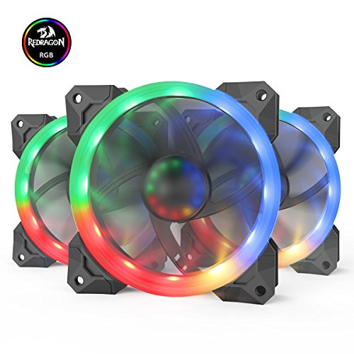 Redragon GC-F008 Computer Case 120mm PC Cooling Fan, RGB LED Quiet High Airflow Adjustable Color LED Fan, CPU Cooler and Radiators (3 Packs) by Redragon