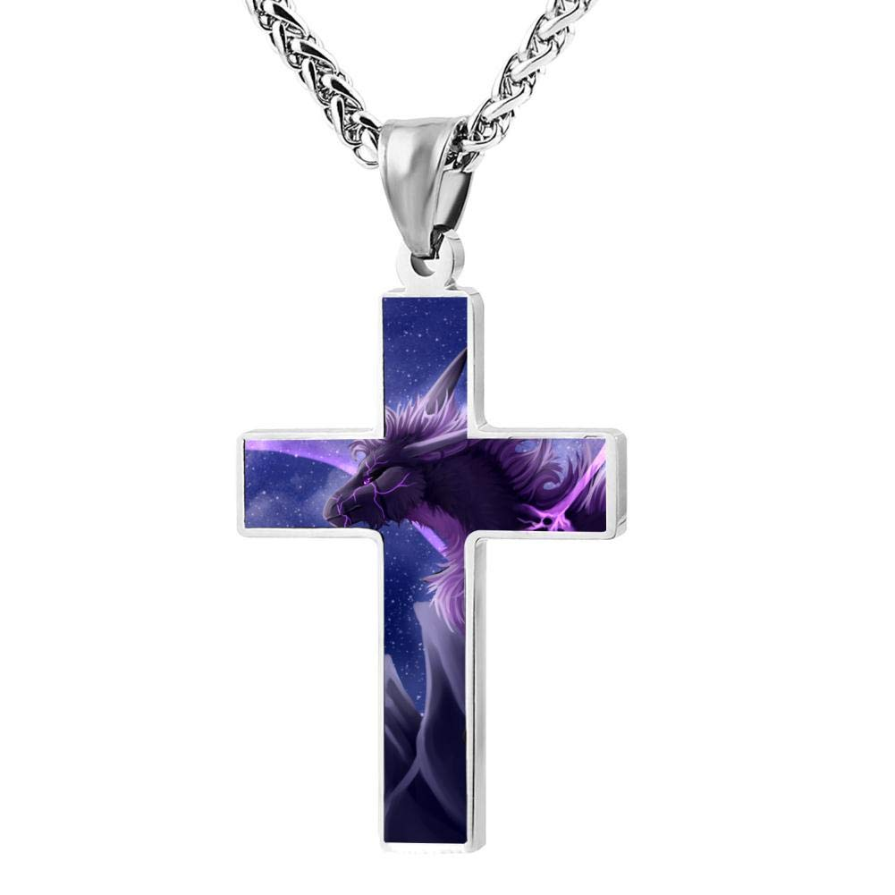 Elcacf Prayer Cross Necklace,Fantasy Galaxy Purple Dragon Print Graphic Religious Pendant