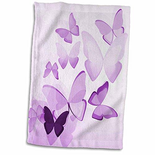 3D Rose Pretty Transparent Purple Butterflies Hand/Sports Towel, 15 x 22 ()