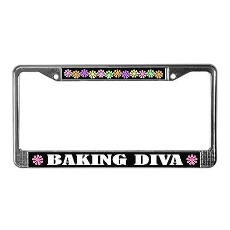 Amazon.com: CafePress - Baking Diva License Plate Frame - Chrome ...