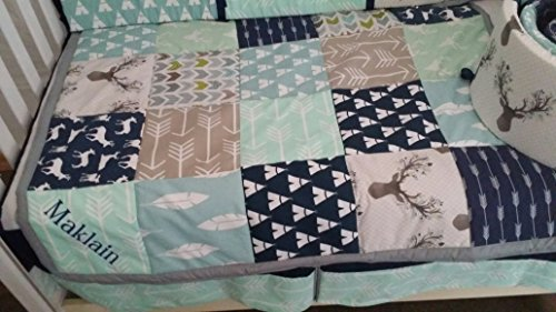(Woodland 1 to 4 Piece baby boy nursery crib bedding Quilt, bumper, and bed skirt, Buck, deer, fawn, head silhouette, Arrow, Teepee, Aztec, Navy, Mint, Gray, Lt Blue)