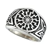 black magic ring - Men's Stainless Steel Ring Silver Tone Black Engine Sun Pattern Celtic Vintage Knot Motifs Finger Rings (9)