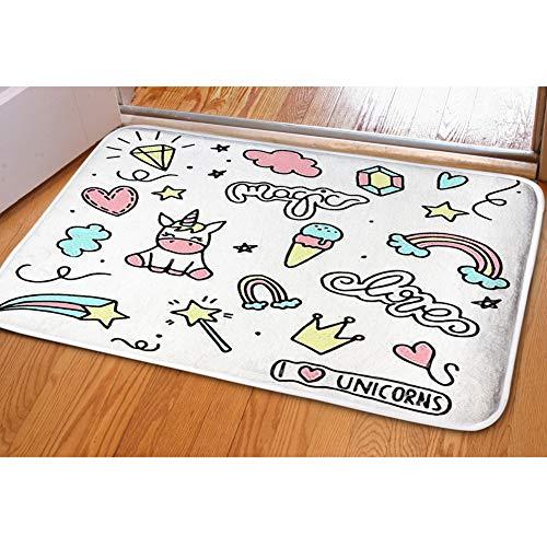 iBathRugs Door Mat Indoor Area Rugs Living Room Carpets Home Decor Rug Bedroom Floor Mats,Unicorn Magic Doodles Cute Pony