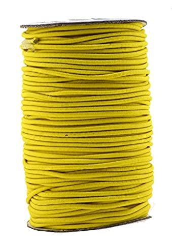 Mandala Crafts 2mm 70M Round Rubber Fabric Crafting Stretch Elastic Cord String (Yellow)