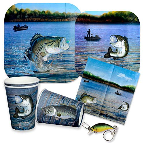 Gone Fishing Party Supplies for 16 Guests - Paper Plates, Napkins, Cups