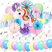 Nicrolandee Unicorn Party Supplies Cute Unicorn Air Balloon Foil Rim Rainbow Paper Fans Blush Pink Lantern Tissue Paper Flowers Poms Jelly Glitter Banner