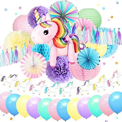 NICROLANDEE Unicorn Party Supplies Pink Unicorn Air Balloon Foil Rim Rainbow Paper Fans Blush Pink Lantern Tissue Paper Flowers Poms Jelly Glitter Banner for Birthday Baby Shower Girl Unicorn ()