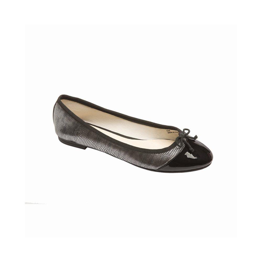 PIC/PAY Anita Women's Flats - Lizard Skin Rounded Toe Ballet Flat B01HFPKR3W 5 B(M) US|Black Lizard Print / Patent Pu