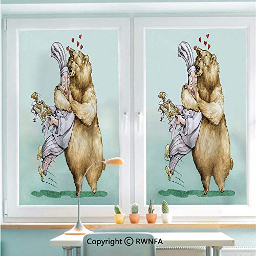 RWNFA Window Film No Glue Glass Sticker Big Bear Fully Hugs The Pastry Animal Love Humor Satire Romance Theme Artful Static Cling Privacy Decor for Kitchen Bathroom 22.8x35.4inches,Cream Blue Grey (The Use Of Satire In Animal Farm)
