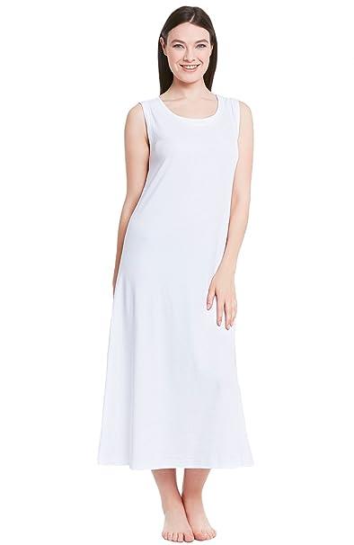 dcd099224cd29 Alexander Del Rossa Womens Cotton Knit Nightgown, Long Sleeveless Sleep  Dress