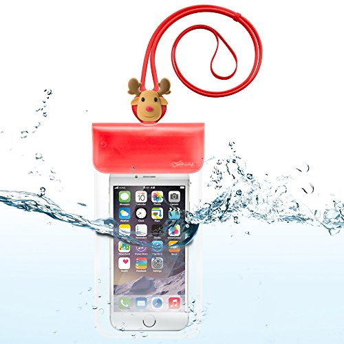 Universal Waterproof Pouch Case, Cell Phone Dry Bag for up to 6 Inch Smartphone, Fits iPhone X 8 Plus 7 6 6S, Samsung Galaxy S9 S8 Note 8, Google Pixel 2, LG V30 and More - Red/Reindeer for $<!--$8.49-->